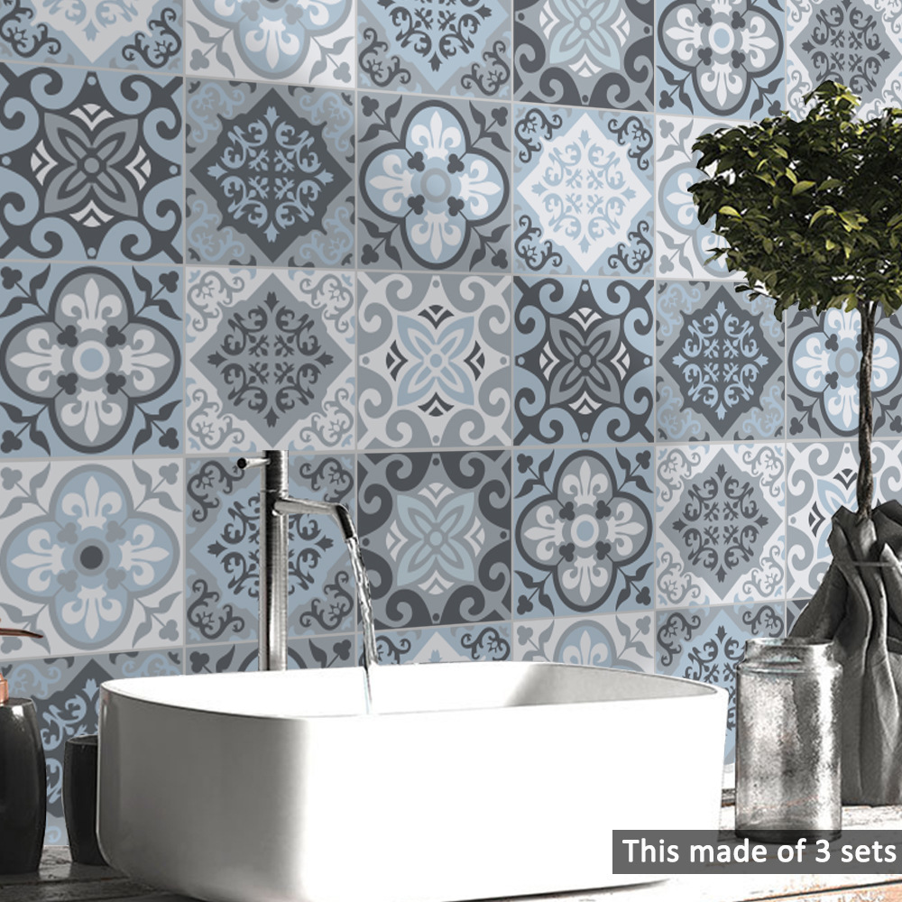 Image 2 - Funlife Moroccan Blue Tiles Wall Sticker,Self Adhesive Tile Decal for Kitchen Decoration DIY Waterproof Furniture Bathroom DecorWall Stickers   -