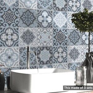 Image 2 - Funlife الأزرق بلاط الجدار ملصق ، ملصقات بلاط ذاتية اللصق للمطبخ زخارف اللوحات أثاث مقاوم للماء ديكور الحمام