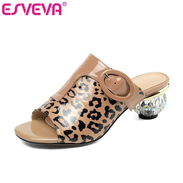 Toe Round Tacón Sandalia De Mujer Slip Con Med 2019 Esveva On Oferta shQCdxtr
