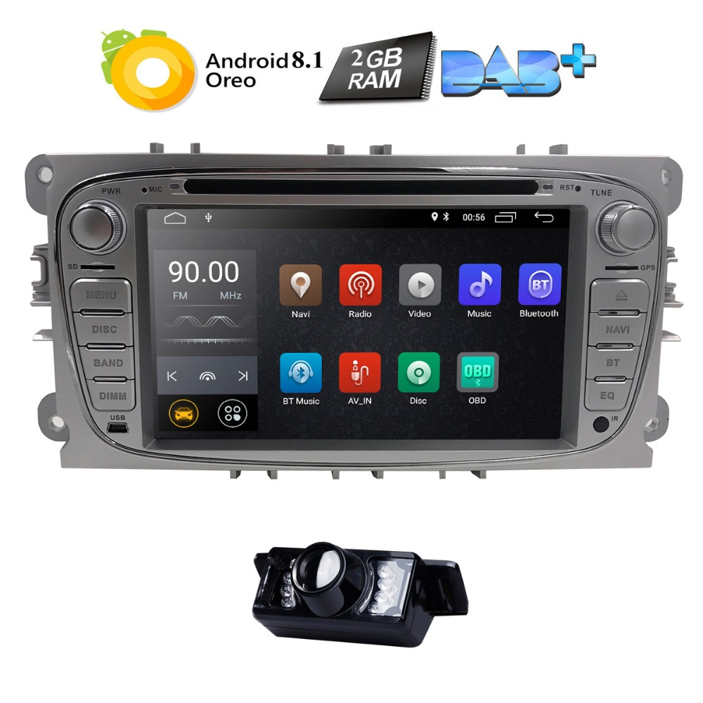 2Din Android 8.1 Car DVD Player Radio for Ford Mondeo Focus S-Max C-MAX Galaxy Kuga Transit Connect Quad-Core Bluetooth DAB OBD2