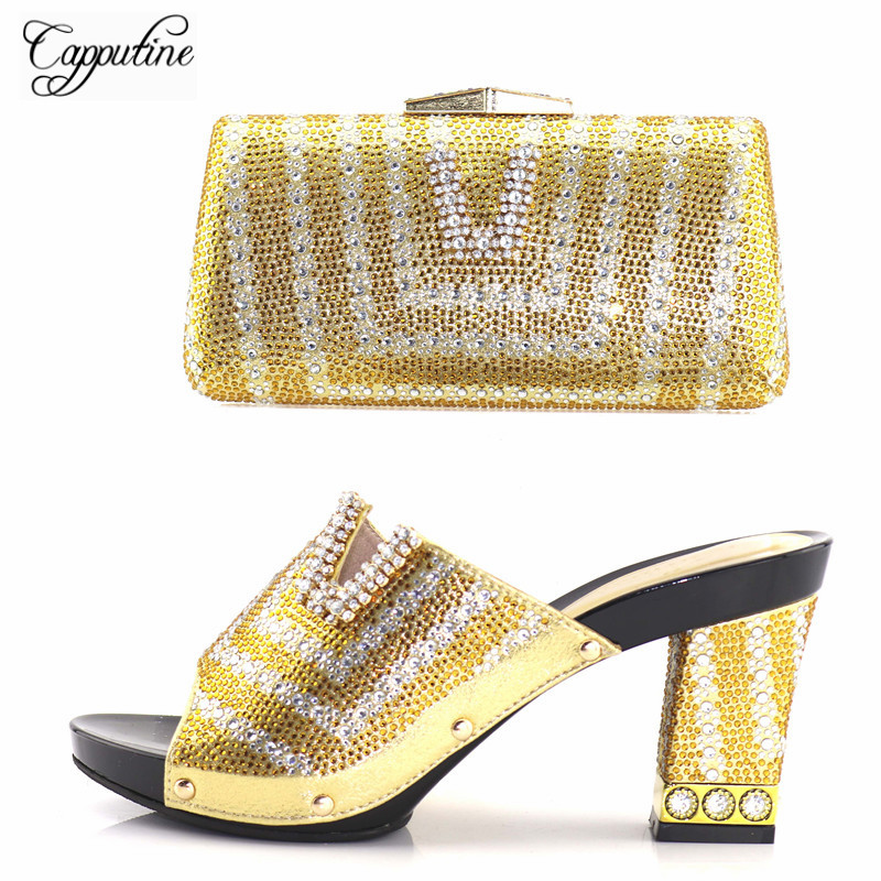 Capputine 2018 New Desgin Rhinestone High Heels Shoes And Bags Set Italian Style Gold Color Shoes And Bag Set For Party Dress