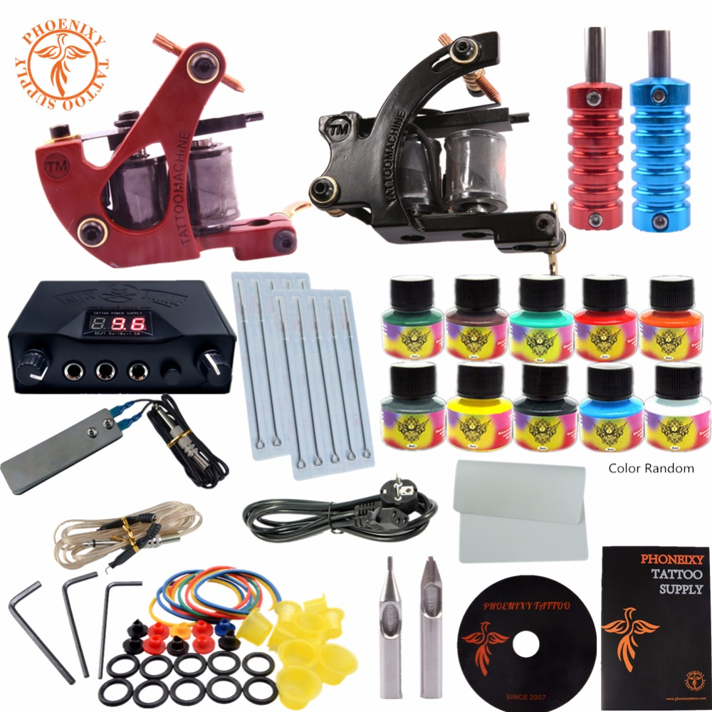 Compelte Tattoo Kit Beginner Tattoo Starter 2 Guns Machines Set Power Supply Disposable Needle Pedal Tips 10 Colors Tattoo Ink 100pcs disposable tattoo needle and tube 3 4 grip with tip