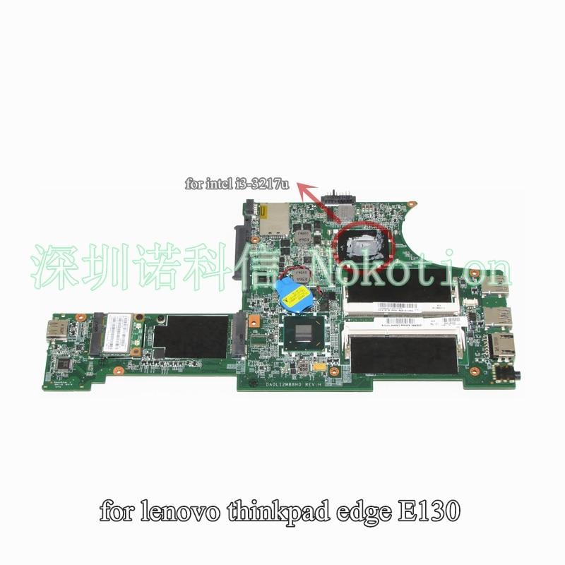 NOKOTION 04Y1000 04X0701 Laptop Main Board For Lenovo ThinkPad Edge E130 Motherboard System Board i3-3217U HM77 DDR3