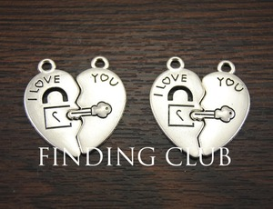 15 sets Zinc Alloy Silver Color Love Lock and Key Jigsaw heart puzzle pieces charms DIY Metal Necklace Jewelry Findings A994(China)