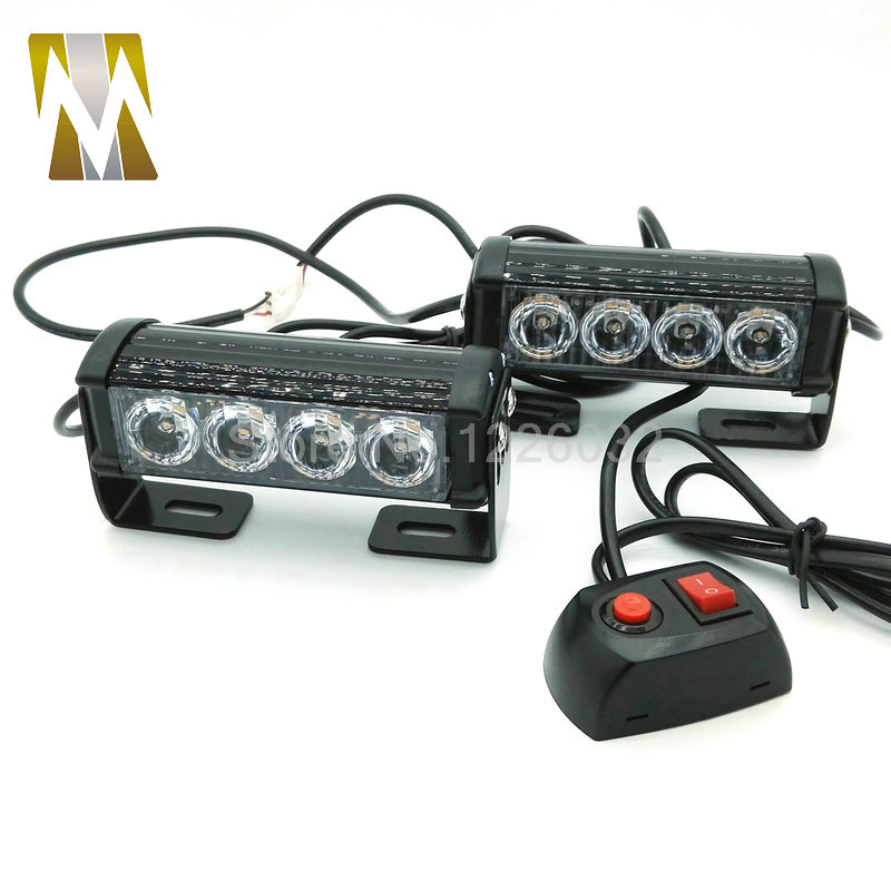 2*4 LED Car Police Strobe Flash Light 10 Modes Auto Warning Light 12W High Power Caution Lamp car styling 12w strobe flash warning led light bar trailer marker daytime running lights police fireman caution pilot lamp