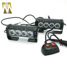 2*4 светодиодный автомобиль полиции Строб вспышка света 10 режимов Автомобильная световая сигнализация 12 W высокой Мощность внимание лампа