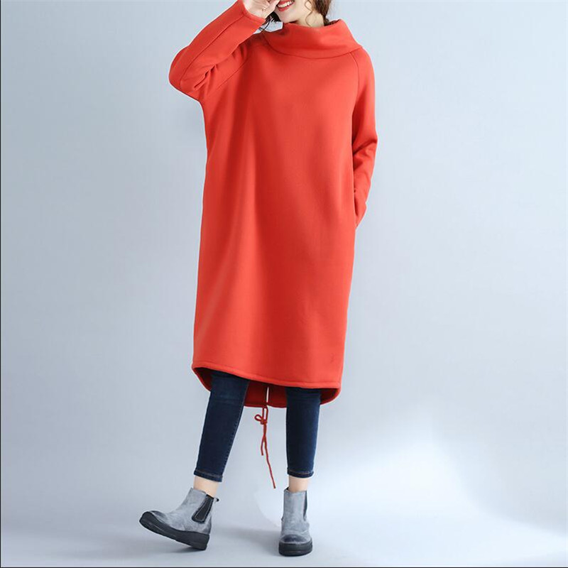 Plus Size Women Wither Warm Long Hoodies & Sweatshirts,knitted Long Sleeve Turtleneck Long Velvet Sweatshirt Dress Black Gray