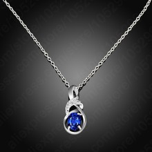 Necklaces & Pendants Fine Cubic Zircon Cz Crystal Pendant 925 Sterling Silver NecklaceJewelry For Women(China)