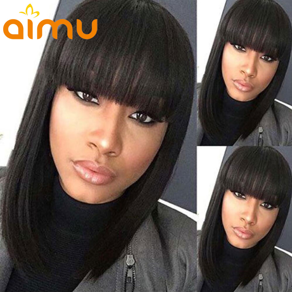 Virgin Lace Front Human Hair Wigs With Bangs PrePlucked Hairline Straight Brazilian Bob Short Wigs 150