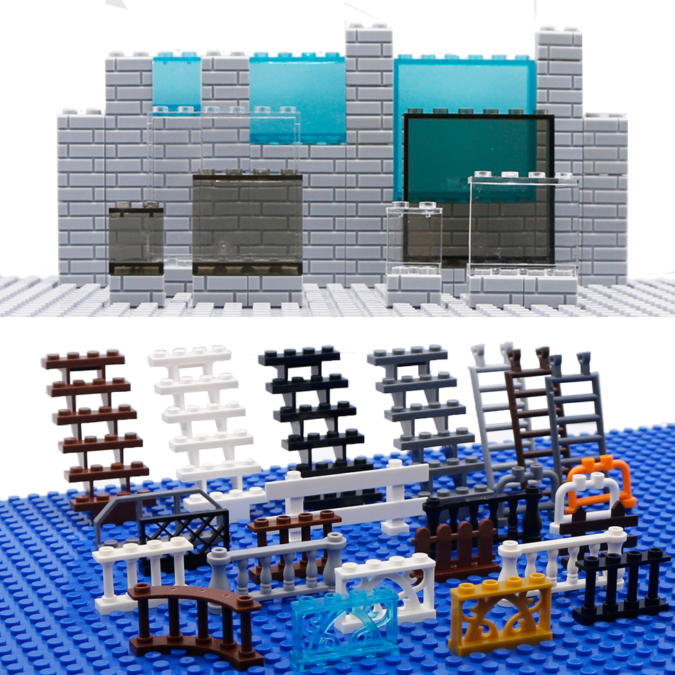 City Accessories House Fence Bricks Window Wall Stairs Ladder Glass Panel Farm Rail Figure Parts Compatible Building Blocks Toys