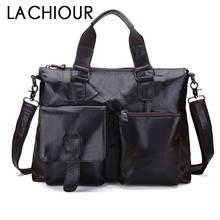 Black Genuine Leather Men Bag Laptop Briefcases Handbags Men Shoulder Bag Strap Crossbody Bags Messenger Bags Men Leather Totes цена в Москве и Питере