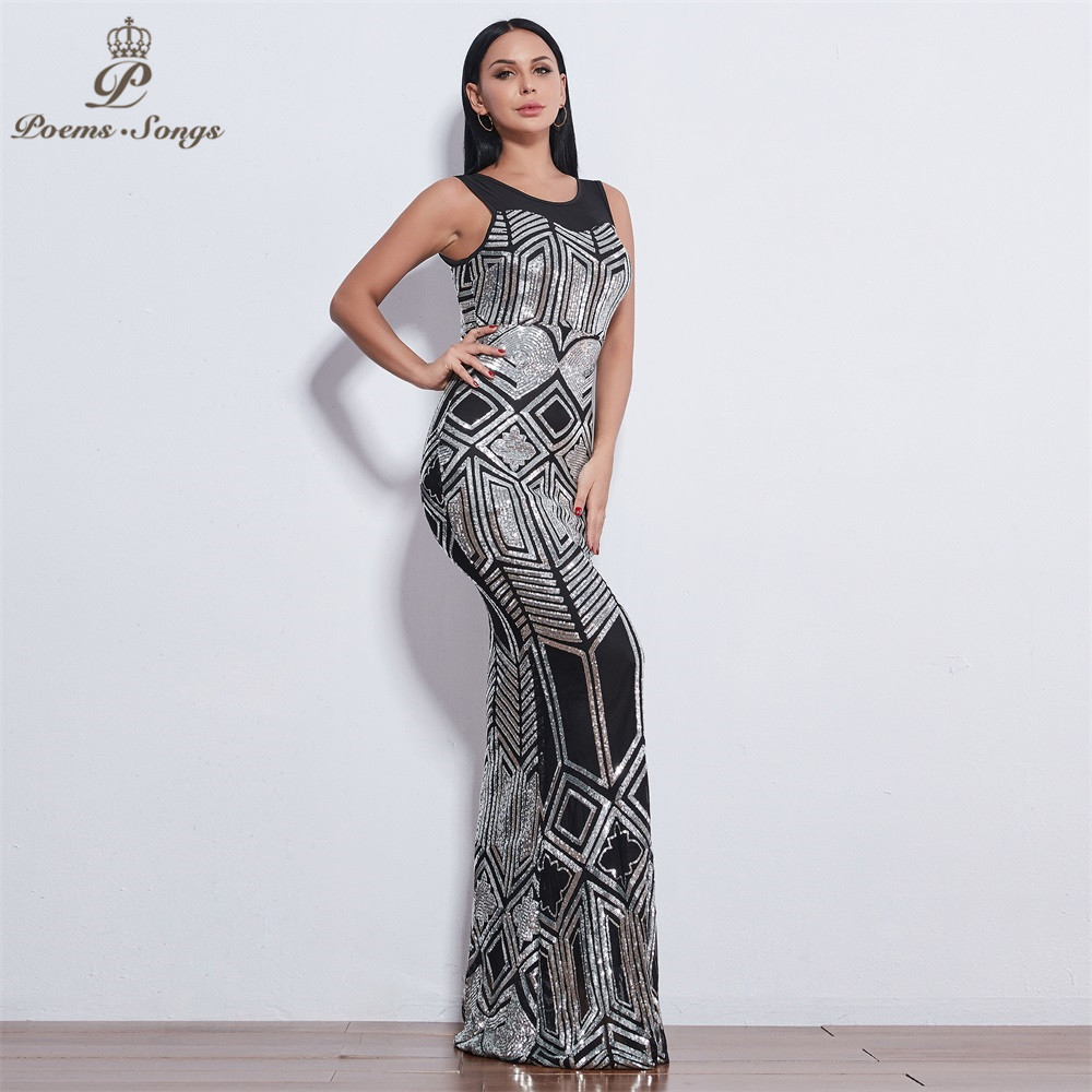 Poems Songs 2019 New sleeveless Evening dresses for women long vestido de festa Sequin evening gowns vestidos elegante-in Evening Dresses from Weddings & Events    2