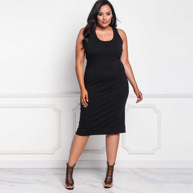 2018 Sexy Dress For Fat Female Plus Size Sleeveless Women Cloths