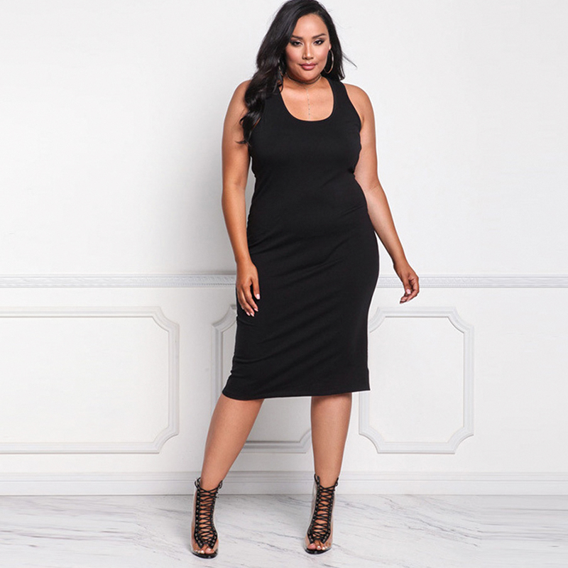 2018 Sexy Dress For Fat Female Plus Size Sleeveless Women cloths black deep O-neck Spaghetti Strap office Dress big size