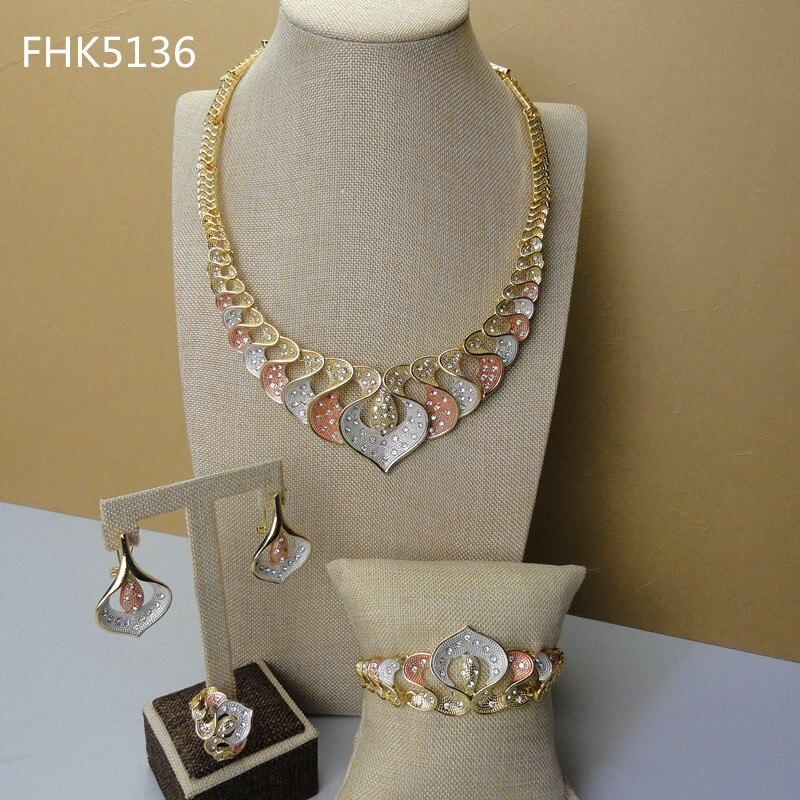 2019 Einzigartige Design Heißer Verkauf Nigerian Frauen Gold Farbe Überzogen Schmuck Sets Fhk5136