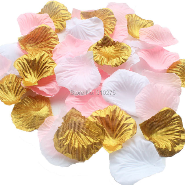 600pcs pink gold white silk rose petals wedding centerpieces confetti decoration bridal shower party festival supplies
