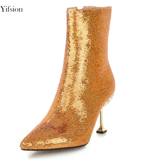 De Punta Gorgeous 5 10 Ee Sexy D0063 Mujer Estilete 3 Gold Yifsion Zapatos Del De Black uu Partido Baile Tamaño becerro Botas Mujeres Mediados Estrecha 3 d0063 Tacón Silver Colores Alto d0063 4Pdd8w