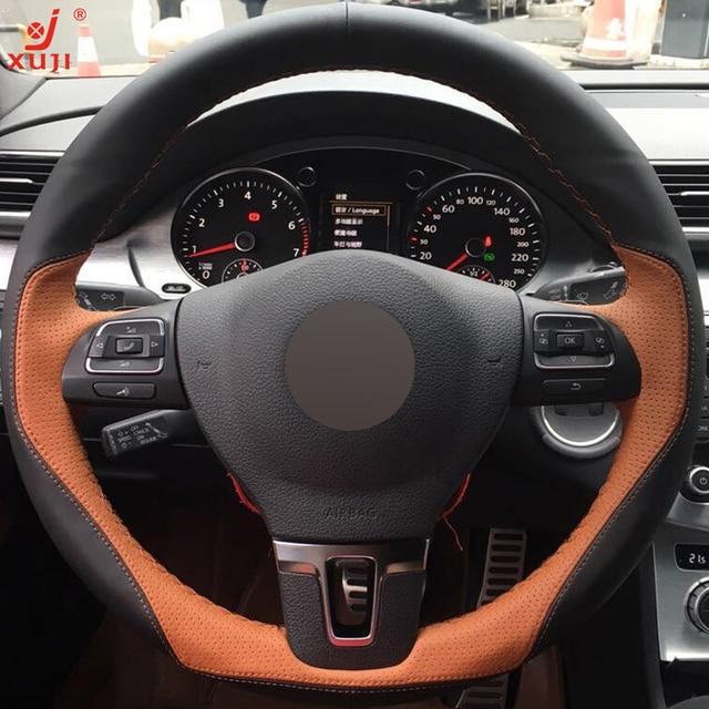 Xuji Black Light Brown Leather Car Steering Wheel Cover For Volkswagen Vw Gol Tiguan Pat B7