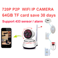 64Gb save 30day support 433mhz sensor alarm HD720P IP Camera v380 Wifi camera Wireless IR Cut P2P Camera baby Monitor camera