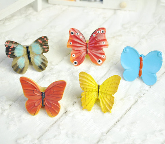 Butterfly Knobs handles Drawer Dresser Knobs Kitchen Cabinet Knobs Pulls Handles Resin / Unique Decorative Furniture Knob Pull furniture drawer handles wardrobe door handle and knobs cabinet kitchen hardware pull gold silver long hole spacing c c 96 224mm