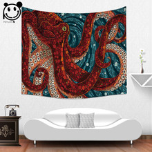 Фотография PEIYUAN Home Decorative Tapestries High Quality Terrorist Monster Octopus Giant Squid Wall Hanging Cloth Polyester Tapestry