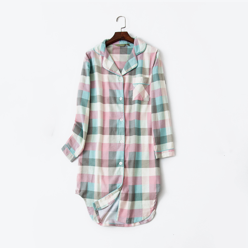 Plaid Cotton Striped Women's Home Clothes Homewear Long Sleeve Button Night Dress Women Spring Summer Nightie Nightgown Woman