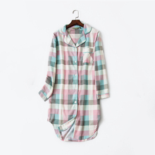 Plaid Cotton Striped Women's Home Clothes Homewear Long Slee