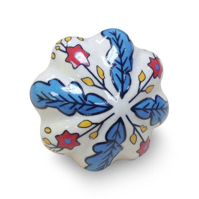Classical Leaf Star Pattern Ceramic Door Knob Drawer Pull Handle ...