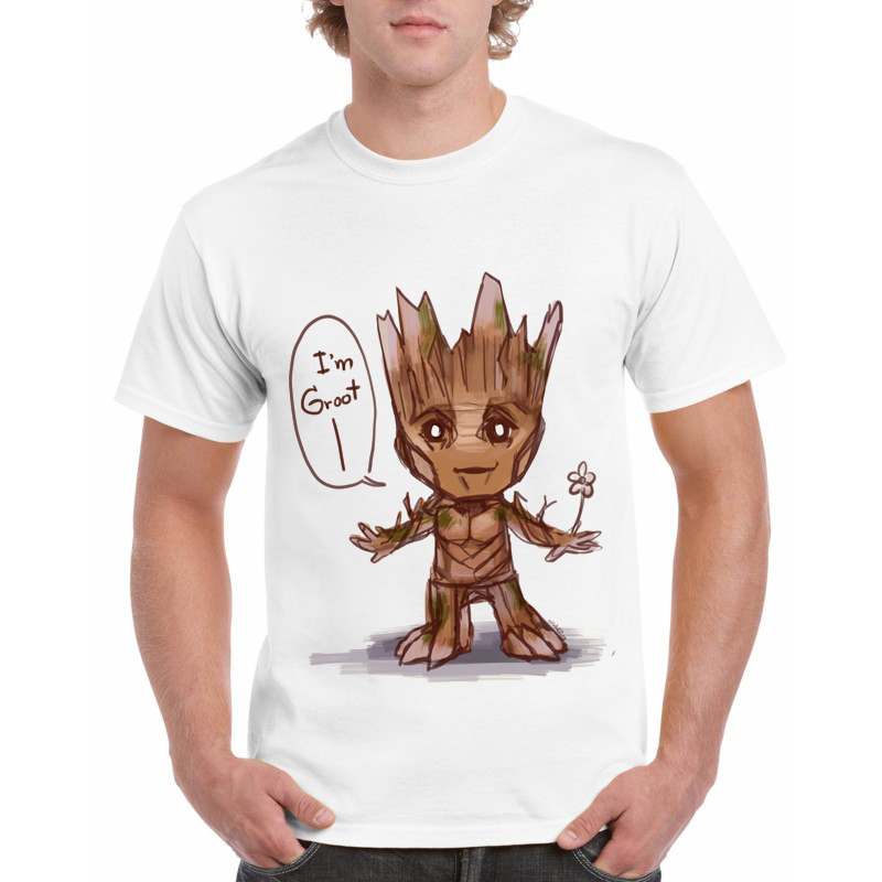 2018 men t-shirt Anime baby pop groot Summer funny I AM GROOT T Shirt Male Cool Tops Tees Homme Tshirt