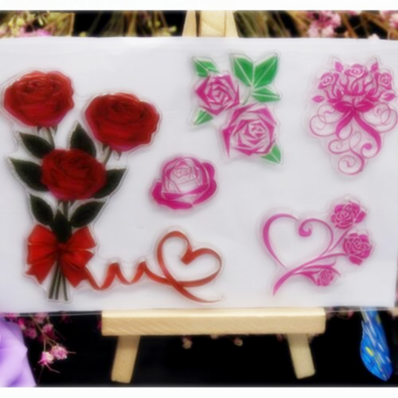 SCS61 Rose Silicone Clear Stamps for Scrapbooking DIY Album Cards Decoration Embossing Folder Craft Rubber Stamp Tools Mold New in Stamps from Home Garden