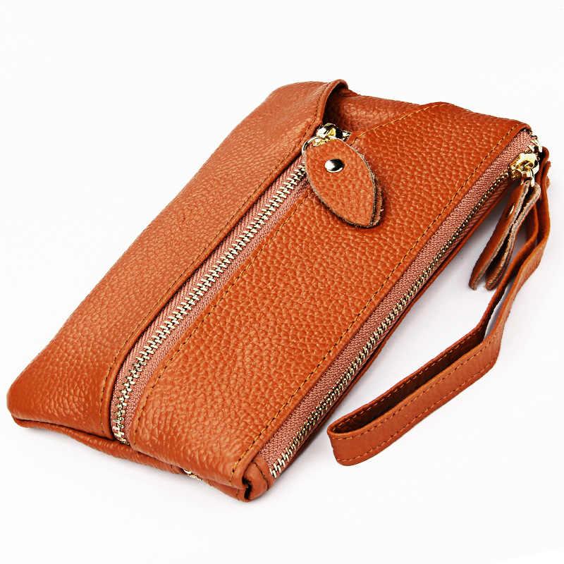 Moda 100% kobiet prawdziwej skóry futerał na klucze wielofunkcyjny portmonetka kluczowym przypadku kobiet portfele damskie car key holder gospodyni