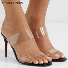 TTSDARCUPS European American Summer Shoes Women Simple Comfortable Transparent High-heeled Sandals Plus Size 35-40