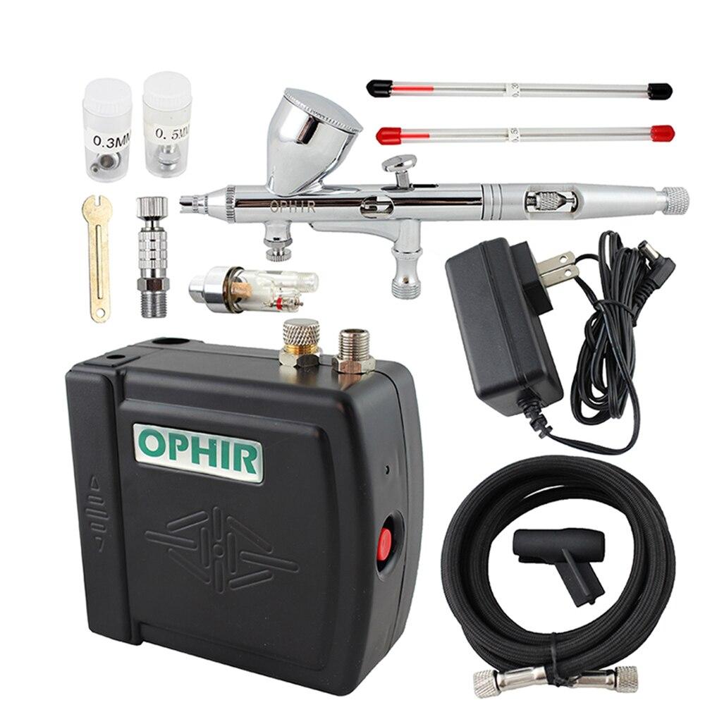 OPHIR Аэрограф Косметическая система для макияжа 0,2 мм 0,3 мм 0,5 мм мини воздушный компрессор аэрограф набор для дизайна ногтей краска для тела у