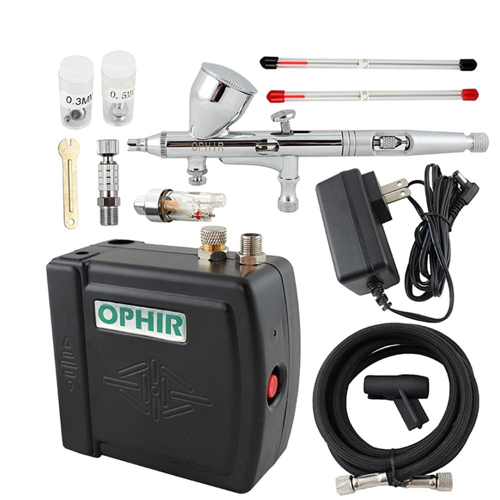 OPHIR Airbrush di Trucco Cosmetico Sistema di 0.2mm 0.3mm 0.5mm Mini Compressore D'aria Airbrush kit per Unghie artistiche Colori per il corpo Della Torta decorazione