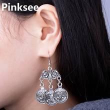 Vintage Ethnic Gypsy Tibetan Tribal Round Coin Silver Tone Dangle Dance Pierced Dangle Earrings Jewelry Drop Free