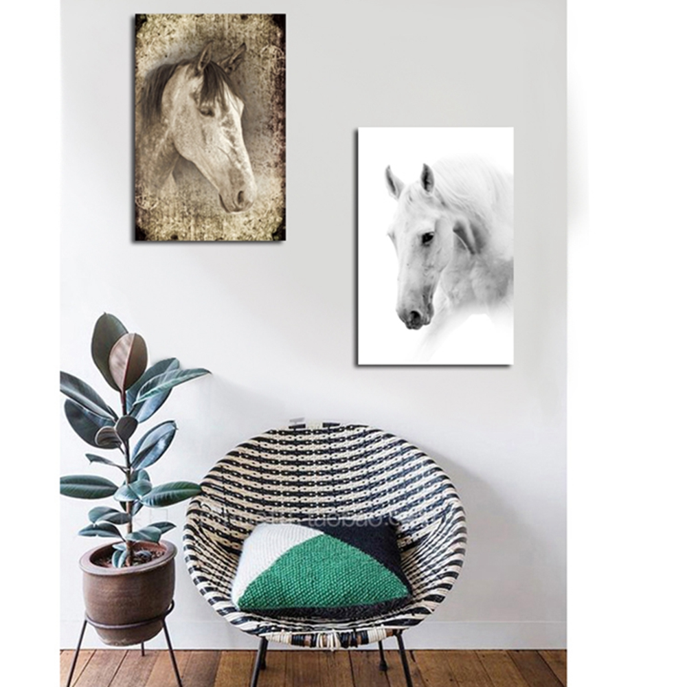 Black and White Horse head Wall Art Canvas Painting for Living Room Wall Decor Animal Artwork Picture Canvas Prints Dropshipping in Painting Calligraphy from Home Garden