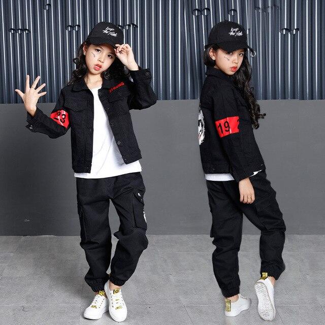 Preto de Algodão 3 pcs Conjuntos de Roupas Para Meninos Meninas  Adolescentes Crianças Hip Hop jaqueta 6ed2980c6fc