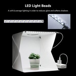Image 2 - 40 سنتيمتر المحمولة للطي صندوق الضوء التصوير استوديو سوفت بوكس مصباح ليد لينة صندوق مجموعة أدوات الخيمة للهاتف DSLR كاميرا صور خلفية