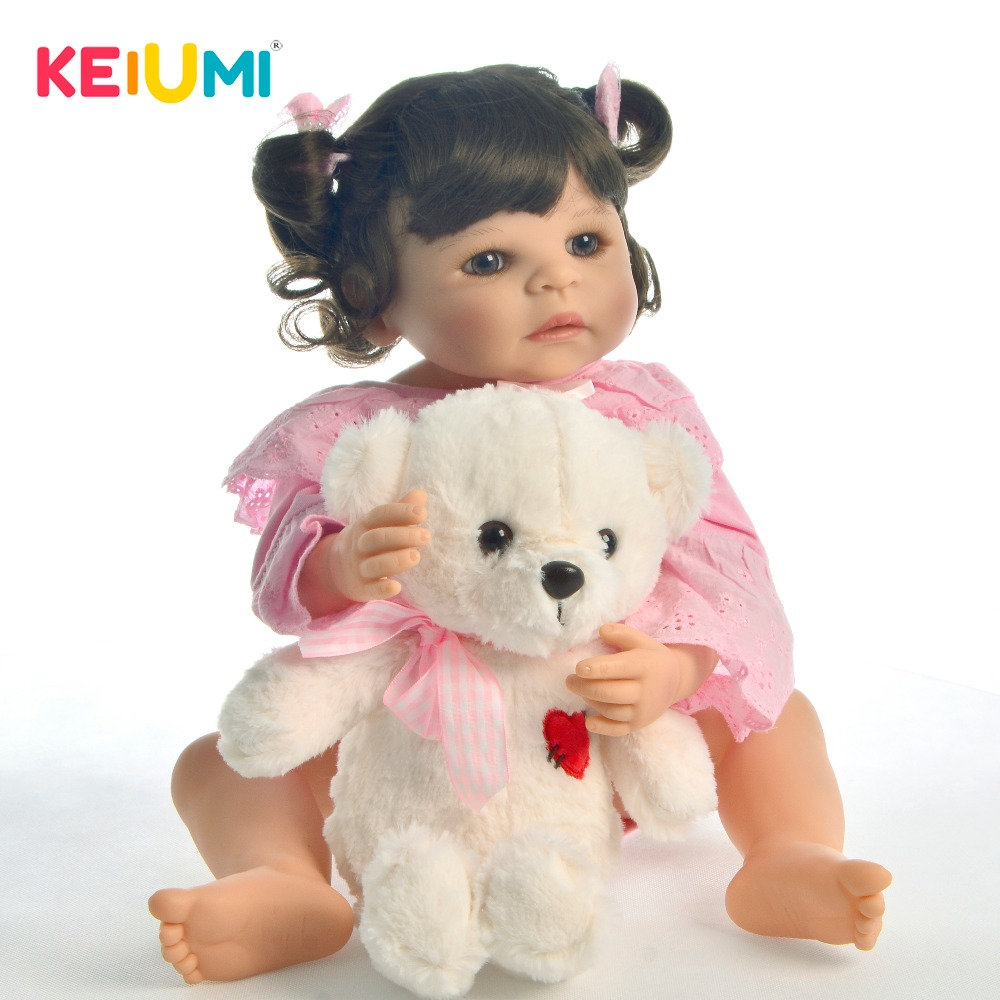 KEIUMI Lovely Lifelike Doll Reborn Toys Full Body Silicone Brown Curls 22 Reborn Baby Doll Realistic Prtincess For Kid PlaymateKEIUMI Lovely Lifelike Doll Reborn Toys Full Body Silicone Brown Curls 22 Reborn Baby Doll Realistic Prtincess For Kid Playmate