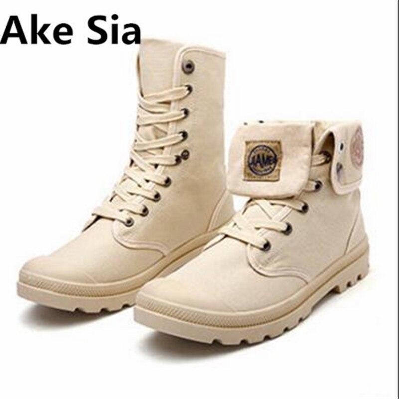 Ake Sia Men Casual Shoes Ankle Canvas Shoes Tactical Combat Lace-Up Spring/Autumn Men shoes Zapatillas Hombre Big Size 39-44