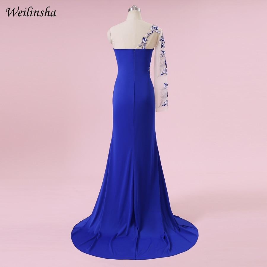 Weilinsha Plus Size Mermaid Kjole En Skulder Royal Blue Sexy Broderi - Spesielle anledninger kjoler - Bilde 2