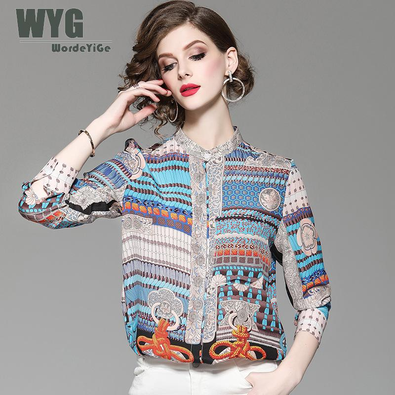Womens Bohemian   Blouses   2019 Spring New Top Quality Runway Fashion Single Breasted Long Sleeve Ethnic Pure Silk   Blouses     Shirts