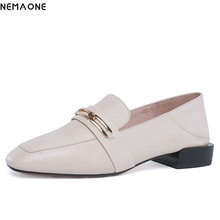 NEMAONE 2019 Women Low Heels Genuine Leather Shoes Plus Size 34-42 Real Leather Fashion Slip-on Fashion Casual Shoes