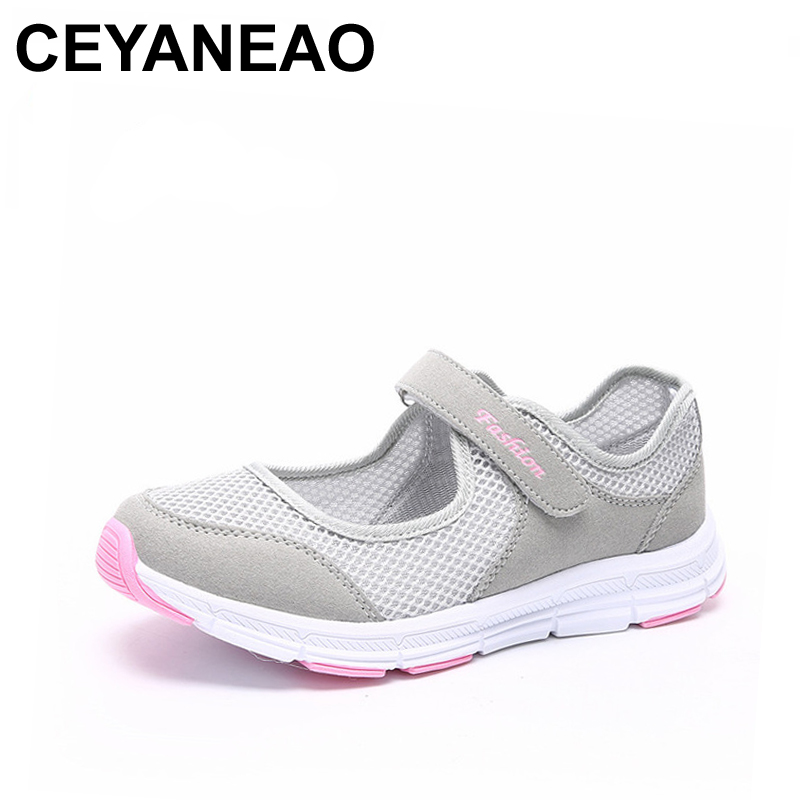 CEYANEAO 2018Women Shoes Casual Sport Flats Fashion Shoes Walking Spring Summer Loafers Breathable Air Mesh Walking Shoes