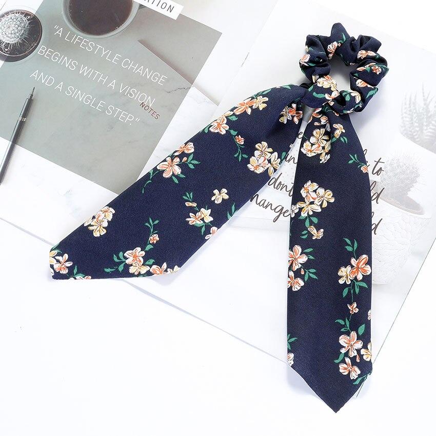 Levao fleur impression cheveux écharpe arc chouchous queue de cheval bandeau pour femmes cheveux accessoires nœud papillon élastique cheveux corde bandeaux 15