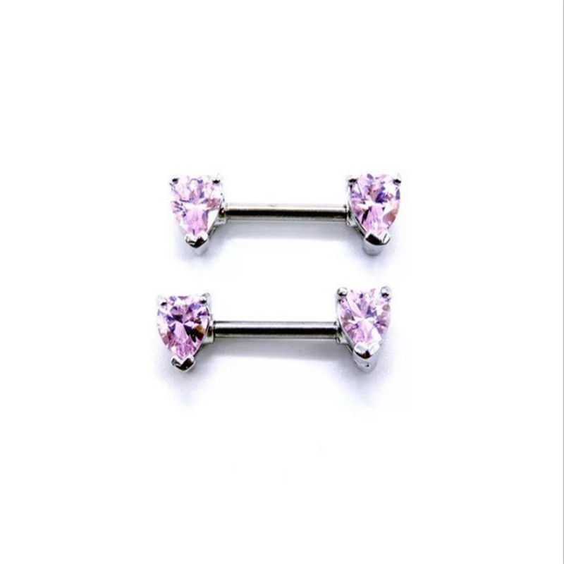 2PCS New Arrival Nipple Rings Piercing Stainless Steel Pink Crystal Heart Sexy Women Nipple Rings Jewelry Body Piercing Gift