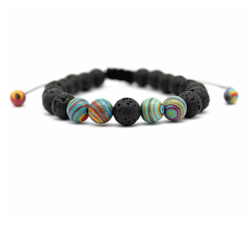 10 Pcs Natuur Steen Lava Stone Bead Charm Armbanden Bangles Yuga Energey Boeddha Strand Armband Sieraden Accessoires Hand Chain