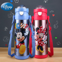 Disney Thermos Straw Bottle Baby Feeding Water Cup Portable Stainless Steel Vacuum Flask with lid spill proof drinkware For Kids