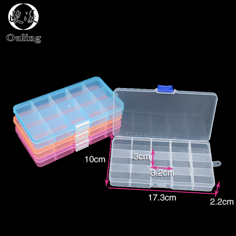 15 Grids Plastic Box Adjustable Jewelry Box Beads Pills Nail Art Storage Box Organizer for the office housekeeping organization