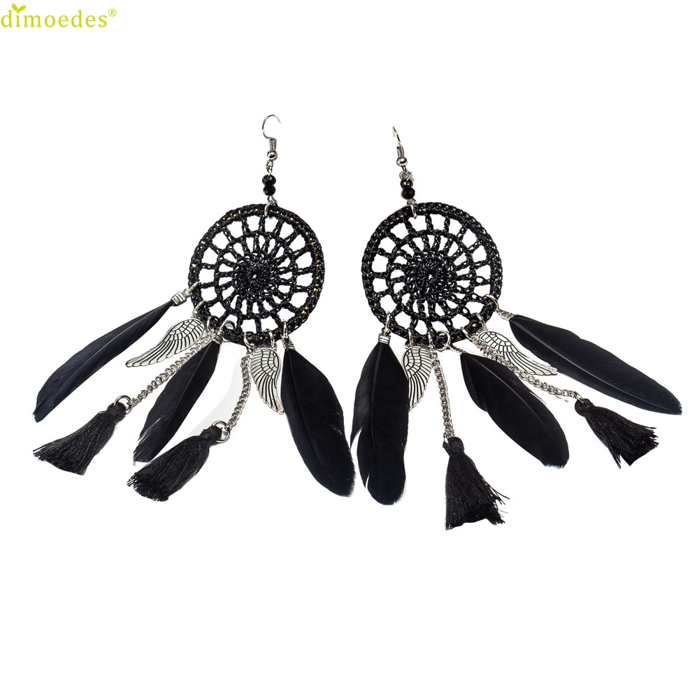 Diomedes Newest ClassyNew Bohemia Feather Beads Long Design Dream Catcher Earrings for Women Jewelry Earrings Hot Gift #0220